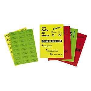 Étiquette adhésive permanente fluo planche A4