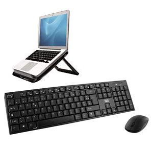 TNB FELLOWES Ensemble clavier-souris sans fil Classy + Support pour ordinateur portable - Noir