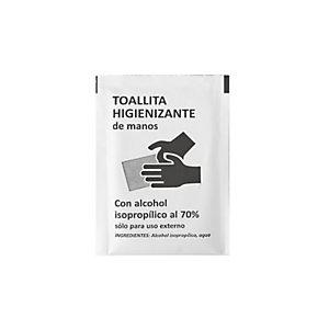 Toallitas hidroalcohólicas en envases individuales, con alcohol isopropílico 70%, caja 500 uds.