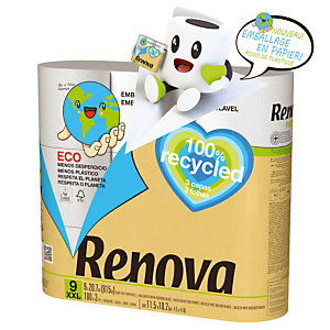 Toiletpapier Renova 100% gerecycleerd, doos van 9 rollen