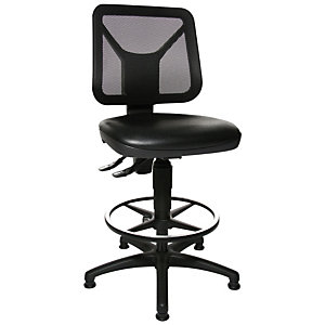 TOPSTAR Design Silla profesional, malla/poliuretano, altura ajustable, negro