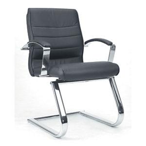 TOPSTAR Lux Sillón de confidente, piel de alta calidad, estructura acero cromado, negro
