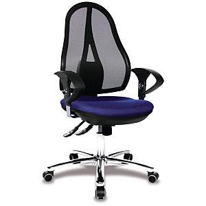 TOPSTAR Open Point® Deluxe SY Silla de oficina de malla, altura 103-111 cm, azul y negro