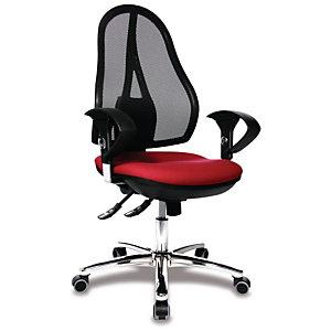 TOPSTAR Open Point Sincro Deluxe Silla de oficina, malla y tela, altura 101-109 cm, rojo y negro