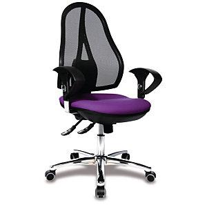 TOPSTAR Open Point Sincro Deluxe Silla de oficina, malla y tela, altura 101-109 cm, violeta y negro