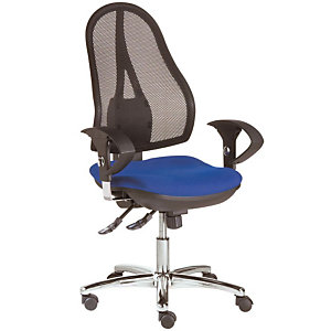 TOPSTAR Siège de bureau Open Point Deluxe - Maille filet - Dossier noir - Assise Bleu