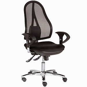 TOPSTAR Siège de bureau Open Point Deluxe - Maille filet - Dossier noir - Assise Noir