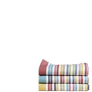 Torchon coton rayures multicolores, lot de 6