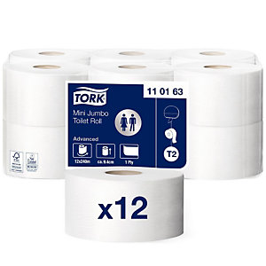 Tork Advanced T2 Mini Jumbo Rollo de papel higiénico, 1 capa, 1714 hojas, blanco