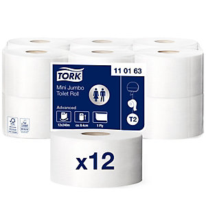 Tork Advanced T2 Mini Jumbo Rollo de papel higiénico, 1 capa, 1714 hojas, blanco