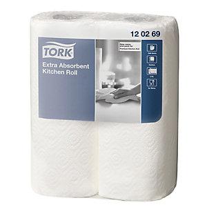 Tork Essuie-mains double épaisseur, 50 feuilles, 229 mm, blanc (Boîte 12 rouleaux)