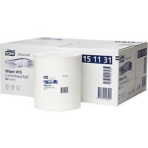 Tork Papier d'essuyage M2, simple épaisseur, blanc