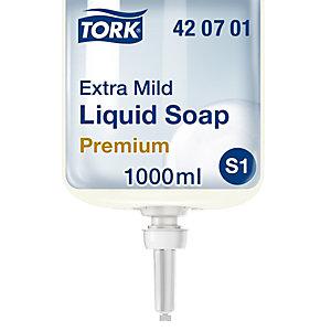 Tork Savon liquide pour les mains PremiumS1, extra doux, cartouche, sans parfum, 1L
