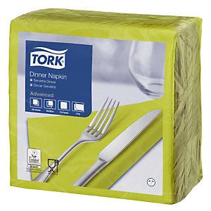 TORK® Serviettes de table en papier Dinner Tork, coloris citron vert, le colis de 150