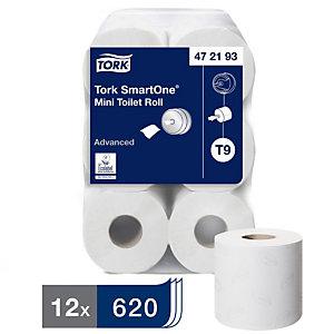 Tork SmartOne® Mini Rotolo carta igienica, 2 veli, 620 fogli, Con stampa a foglia, 134 mm, Bianco (confezione 12 pezzi)
