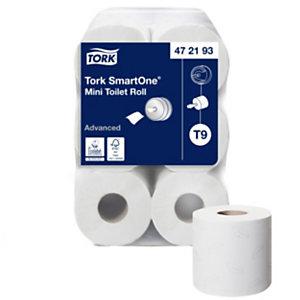 Tork SmartOne Mini T9 Rollo de papel higiénico mini, 2 capas, 620 hojas, 134 mm, blanco