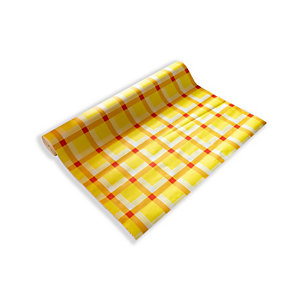 Tovaglia in rotolo monouso in cellulosa goffrata, 1 x 50 m, Scozzese rosso e giallo