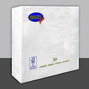 Tovagliolo monouso in ovatta di cellulosa, 2 veli, 40 x 40 cm, Bianco (confezione 50 pezzi)