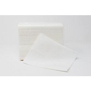 Tovagliolo monouso in pura cellulosa, 2 veli, Goffrato, 16 x 27 cm, Bianco (confezione 6.120 pezzi)