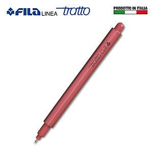 TRATTO Clip Fineliner, Punta fine da 0,8 mm, Fusto rosso, Inchiostro rosso (confezione 12 pezzi)