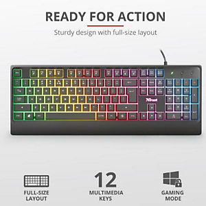 Trust, Ziva gaming led keyboard it, 24100