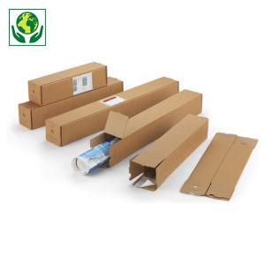 Tube carton carré brun à fermeture adhésive