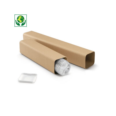 Tube carton carré brun renforcé