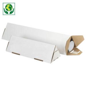 Tube carton triangulaire blanc avec fermeture adhésive