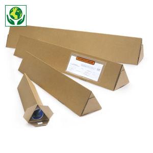 Tube carton triangulaire brun avec fermeture adhésive RAJA