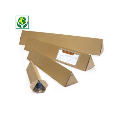 Tube carton triangulaire brun avec fermeture adhésive