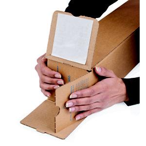 Tube d'expédition carré avec fermeture adhésive en carton simple cannelure brun - Diam.int.105 x L.430 mm