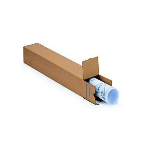 Tube d'expédition carré avec fermeture adhésive en carton simple cannelure brun - Diam.int.105 x L.700 mm