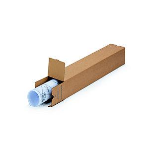 Tube d'expédition carré avec fermeture adhésive en carton spiralé brun - Diam.int.105 x L.860 mm