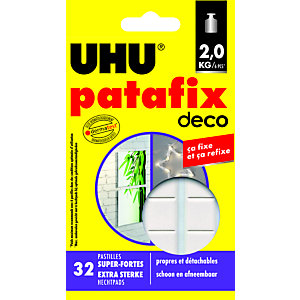 Uhu Patafix Homedeco - Pastilles adhésives super fortes, repositionnables, blanches