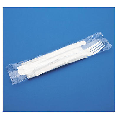 Uitverkoop: Bestekset van plastic: vork, mes, theelepel en servet
