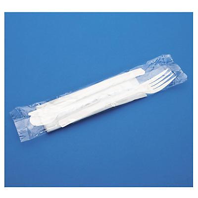 Déstockage : Kit couverts aspect cristal##Uitverkoop: Bestekset van plastic: vork, mes, theelepel en servet