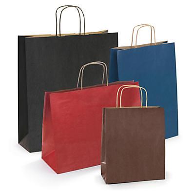 Déstockage : sac kraft à poignées torsadées couleurs##Uitverkoop: draagtas van gekleurd kraftpapier met gevlochten oren