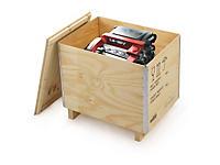 Uitverkoop: Kist in multiplex met houten onderstel
