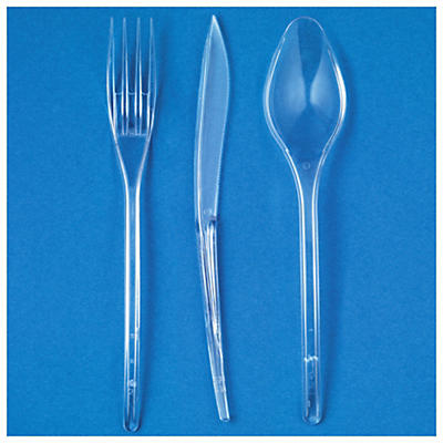 Déstockage : Couverts cristal##Uitverkoop: Stevig plastic bestek luxe kristal