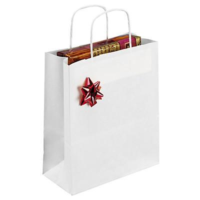 Déstockage : sac kraft blanc à poignées torsadées##Uitverkoop: Witte draagtas van kraftpapier met gevlochten oren