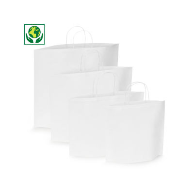 Uitverkoop: witte papieren draagtas met ovale bodem en gevlochten oren