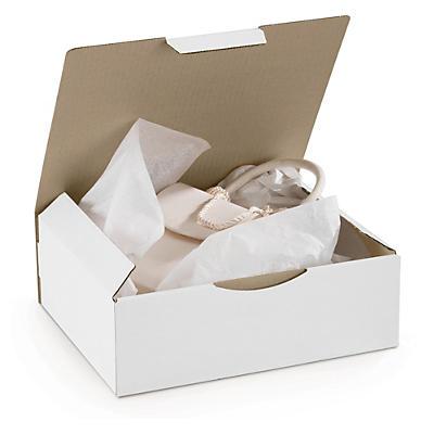 Uitverkoop: witte postdoos met beschermende zijflappen en sluitklep