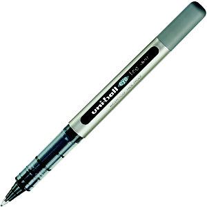 Uni-Ball Eye Fine UB-157 Penna a sfera Stick a inchiostro liquido, Punta fine 0,7 mm, Fusto grigio, Inchiostro nero