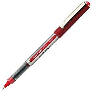 Uni-Ball Eye Micro UB-150 Bolígrafo de punta de bola, punta fina, cuerpo plateado de polipropileno, tinta roja