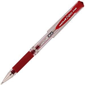 Uni-Ball Signo Broad Bolígrafo de gel, punta ancha de 1mm, cuerpo transparente con grip, tinta roja