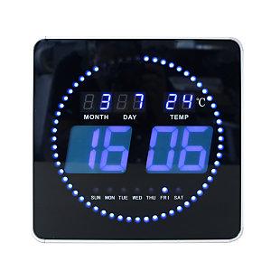 Unilux Horloge digitale à Led bleu 28 cm - Noir