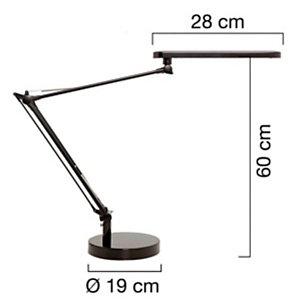 Unilux Mambo Lampada da scrivania a LED, Alluminio e ABS, Nero