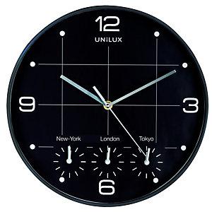 UNILUX Orologio da parete 4 fusi on time - diametro 30,5 cm - nero - Unilux