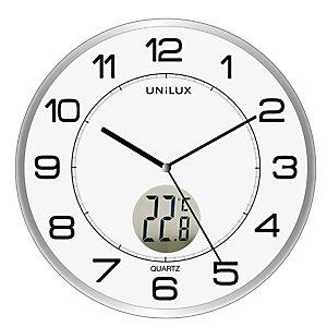 UNILUX Orologio da parete Tempus - diametro 30,5 cm - con termometro - bianco - Unilux