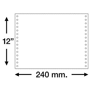 "UNIPAPEL Papel continuo original 240 x 12"" Color blanco"